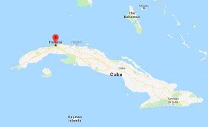 Havana op kaart Cuba