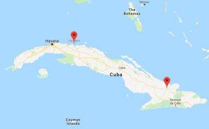 Varadero en Holguin op kaart Cuba